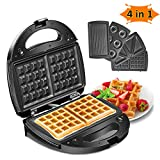 Godmorn Waffle Maker 4 in 1, Sandwich Toaster, Panini Press Grill, Donut Doughnut Maker Iron Machine, Deep Non-Stick Coating Plates, 750W, Automatic Temperature Control