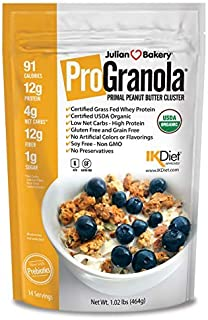 Julian Bakery® ProGranola® Cereal | USDA Organic | GF | Peanut Butter Cluster | 12g Grass-Fed Whey Protein | 4 Net Carbs | GF | Grain-Free | 14 Servings