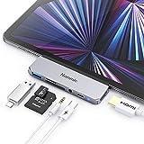 HUB USB C para iPad Pro 2021/2020/2018, Hommie 6 EN 1 Adaptador iPad Pro a HDMI 4K,HUB USB 3.0 Carga PD,Auriculares de 3.5mm,Adaptador USB C para iPad Pro/Macbook Pro/Samsung y Más Dispositivos Tipo C