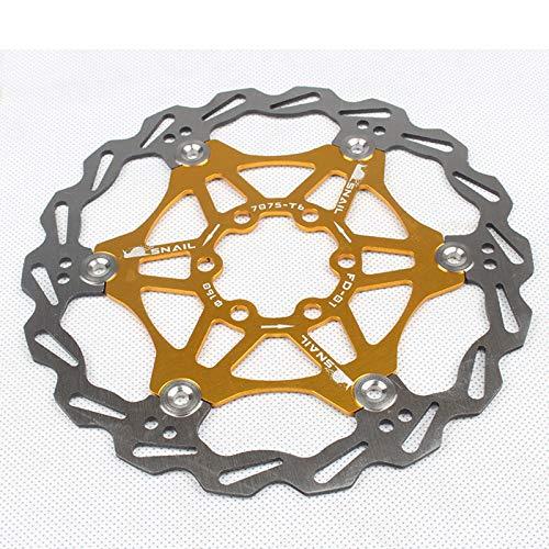 AOUVIK Rotor de Freno de Disco Flotante, Accesorio de Bicicleta de montaña de 160/203 Mm, ventilación rápida, Buena dispersión de Calor, para Bicicleta de Carretera, Bicicleta de montaña,Oro,160mm