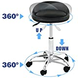 Adjustable Hydraulic Rolling Swivel Salon Stool Chair Tattoo Massage Facial Spa Stool Chair with Back Rest (PU Leather Cushion) (Black)