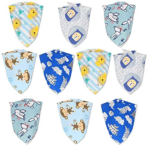 FETESNICE babero pañuelos triangulares 10 piezas pañuelo unisex de algodón con 2 botones de presión ajustables, algodón suave absorbente