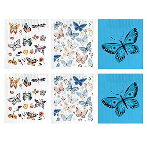 Vigcebit 6 paños de cocina con diseño de mariposas, 70 fibras de celulosa de madera + 30 paños de algodón reutilizables