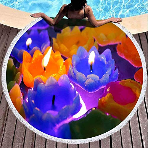 Round Beach Towels for Kids,Colorful Lotus Candle Flowers Floating Water Night Scene 60 X 60 Inch Big Beach Towel Round for Children,Ladies and Boys