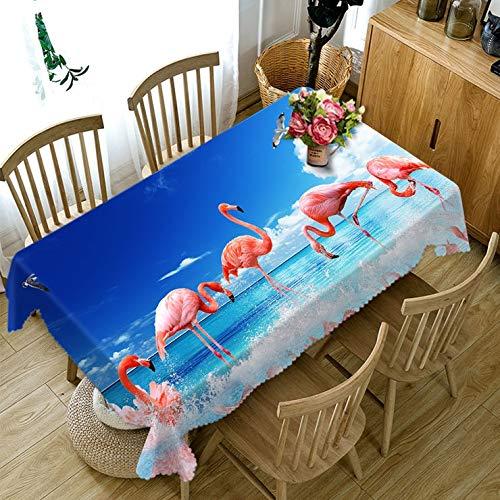 XXDD Mantel con patrón de Animal Flamenco Rojo 3D, Mantel Rectangular de algodón Lavable para Mesa de Comedor para Banquete de Boda, variación A8