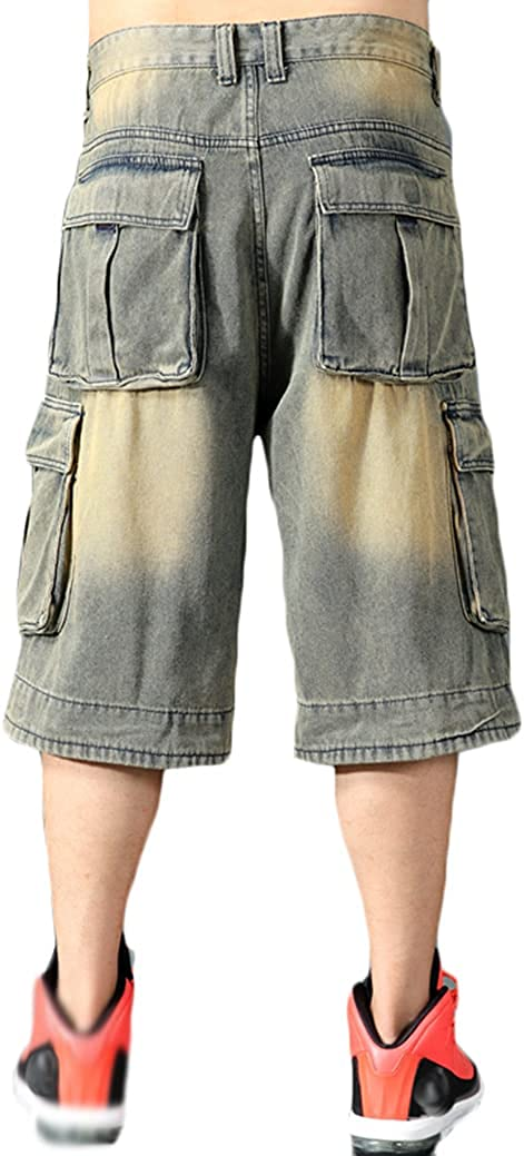 Baggy Jeans Shorts for Men Hip Hop Loose Fit Work 3/4 Jean Denim Shorts with Cargo Pockets Baggies Pants Men