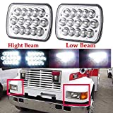 Pair 7x6 LED Sealed Beam Headlight Conversion Kit For International Harvester 4700/8200/9200/3800, High and Low Dual Beam H4 Replace H6014, H6052, H6054, 6054