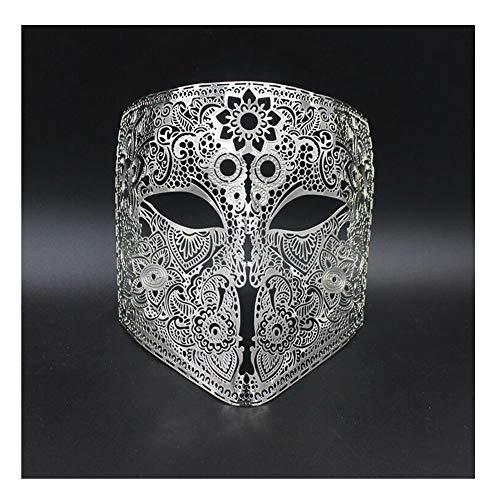 Halloween Herren Damen Maske Silber Gold Metall Schnitt Totenkopf Durchbrochene Geschnitzt Maske für Venezianische Maskerade - Weiß