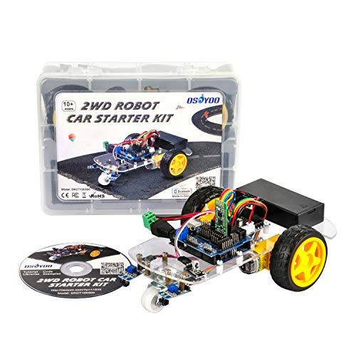 OSOYOO 2WD Robot Car Starter Kit for Arduino UNO, STEM Remote Controlled App Educational Motorized Robotics for Building Programming Learning How to Code, IoT Mechanical DIY Coding for Kids Teen Adult