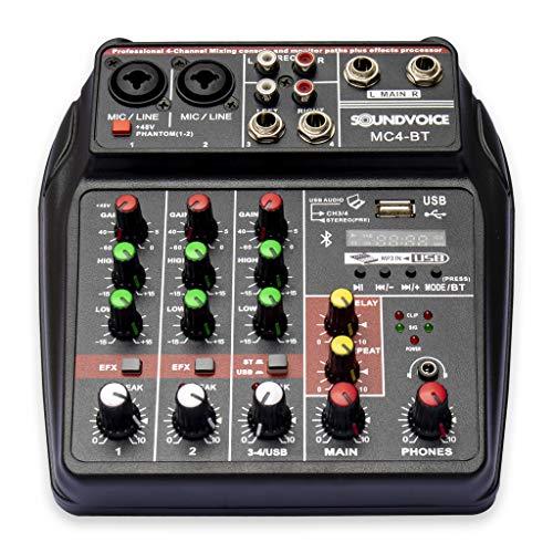 Mesa de Som 4 canais Compacta Bluetooth MC4BT Soundvoice