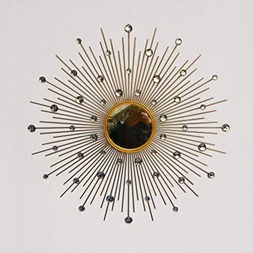 GXM-LZ Crystal Jewel Sunburst Wall Mirror, 3D Stereo Large Metal Decorative Shape Round Wall Mirror, Living Room, Hallway Porch Starburst Shaped Hanging Mirror,Gold,50CM