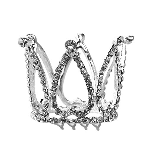 ROSENICE Kristall Diadem Prinzessin Krone Strass Tiara mit Haar Kamm (Silber)