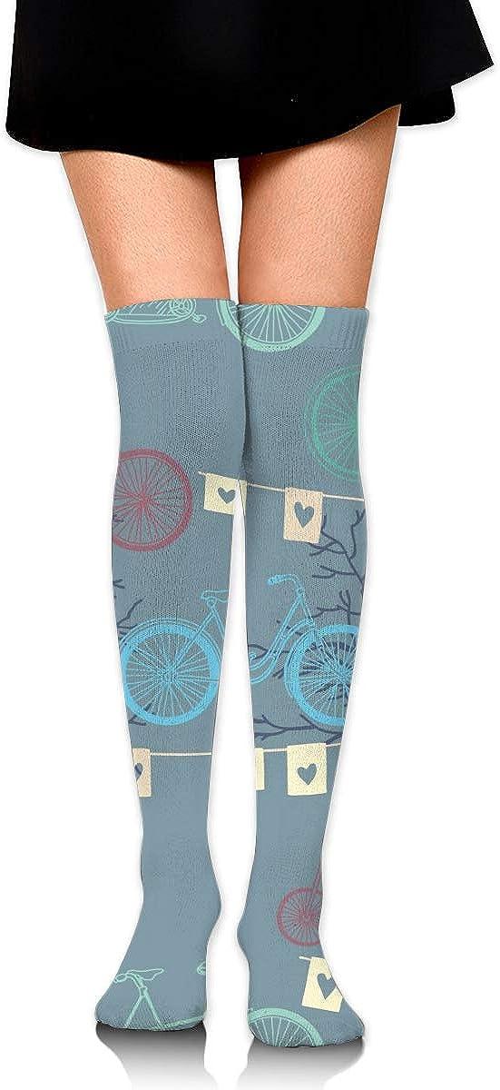 Dress Socks Retro Bicycle Bike Evening Long Knee Hose Novelty Hold-Up Stockings
