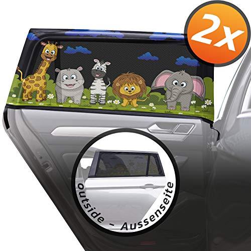 Caramaz Sonnenschutz Auto Baby mit UV Schutz - 2 Stück liebevoll bedruckte Sonnenschutzsocken - die ideale Sonnenblende Auto zur vollflächigen Abdeckung ohne seitliche Lücken