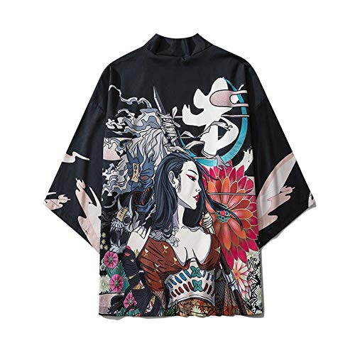 TINGS Harajuku Print Crane and Wave Kimono Japanese Traditional Clothes for Men Women Loose Robe Streetwear Cardigan,Style H,M