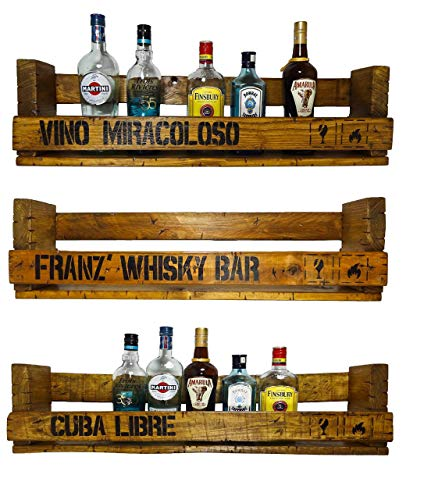 IHR WUNSCHTEXT auf einem SHaBBY ViNTaGe PaLeTTeNReGaL (HxLxT: 23x8ox9,5cm) im Frachtkisten Style aus Echtholz Gin Rum Whisky Wein Regal Wandbar. personalisierbar