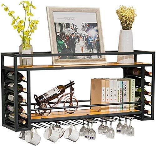 Soporte colgante de metal negro para botellas de vino, soporte para botellas de vino, estantes flotantes de madera, para decoración del hogar (tamaño: 100 cm, 30 cm, 55 cm) (tamaño: 100 x 30 cm)