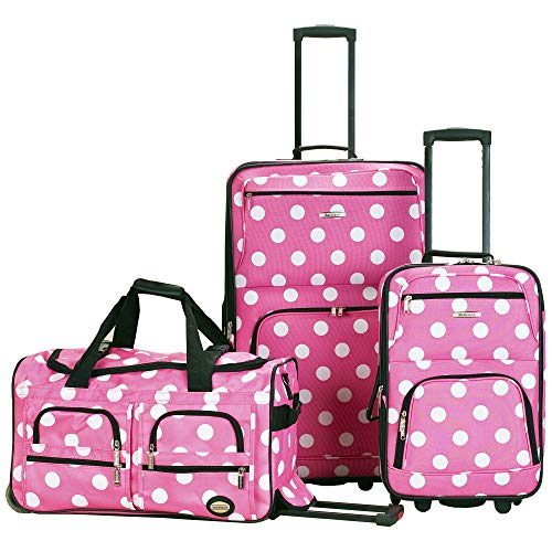 Rockland Vara Softside 3-Piece Upright Luggage Set, Pink Dots, (20/22/28)