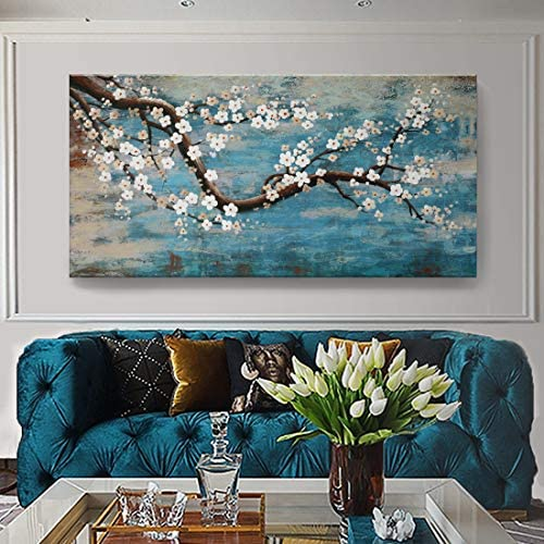 Huge Wall Art for Living Room 100 Hand Painted Flower Oil Painting On Canvas Gallery Wrapped product image