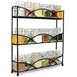 3 Tier Herb & Spice Rack | Free Standing Non-Slip Organiser | Modern Design Kitchen & Pantry Storage Solution | Up to 18 Spice Jars | M&W Black