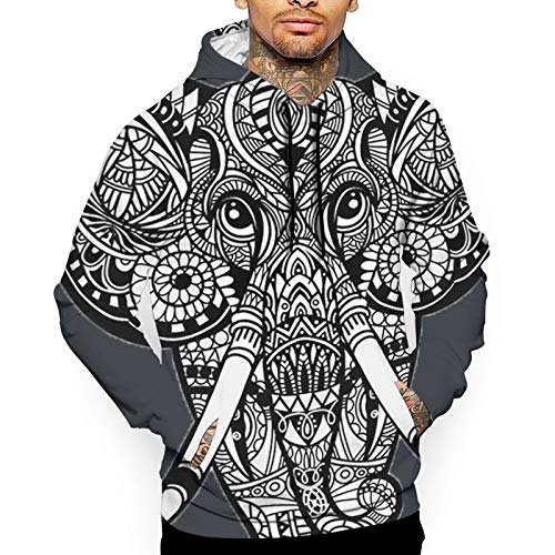 YUYUYU Africa Indian Lotus Ethnic Elephant Tribal Ornament Men's Outdoor Hooded Sweatshirt Thermal Winterwear Pullover White