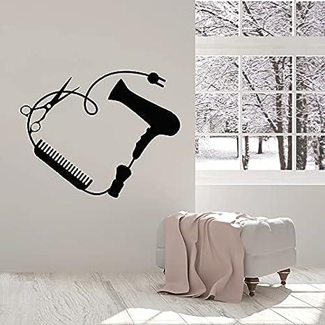 Usmnxo Barbería Tatuajes de Pared secador de Pelo Peine Tijeras salón de Belleza decoración de Interiores Vinilo Etiqueta de la Ventana Arte Mural extraíble 57x71 cm