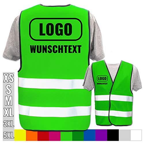 Hochwertige Warnweste direkt selber gestalten * eigener Aufdruck mit Text Logos Grafiken Designs, Position & Druckart:Rücken + Front/Standard-Druck, Farbe & Größe:Neon Grün/Größe 5XL