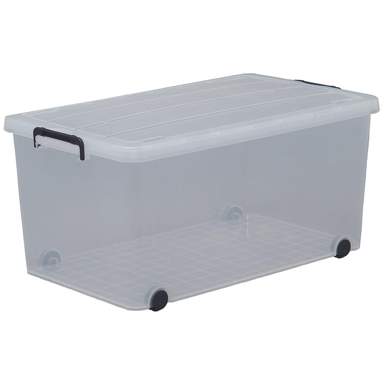 恵みラフレシアアルノルディ簡潔なアイリスオーヤマ 収納ボックス 衣装ケース ふた付き 丈夫 頑丈 大型 キャリー 幅44×奥行74×高さ35cm ネイビー クリア