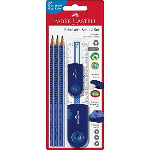 Faber-Castell 217067–Set per la scuola Sleeve Gross, 6pezzi con righello, Blu