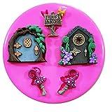 Faries Welcome Fairy Doors and Toadstools Molde de silicona para decoración de pasteles y...