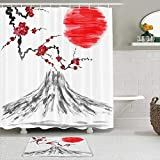 Juego de cortinas y tapetes de ducha de tela,Pintura japonesa de la flor asiática de los cerezos en flor y del monte r,cortinas de baño repelentes al agua con 12 ganchos, alfombras antideslizantes