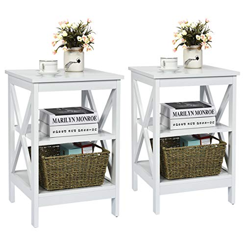 Giantex Nightstand 3-Tier X-Design W/Storage Shelves and Stable Structure Storage Organizer Display Sofa Side Table for Living Room Bedroom Accent Home Furniture End Table (2, White)
