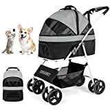 Dog/Cat/Pet Stroller for Small-Medium Pet, 3-in-1 Luxury Travel Carriage/Car Seat/Stroller Storage Basket with Detach Carrier Suspension System/Link Brake/One-Hand Fold, Max. Loading 33 LBS (Black)