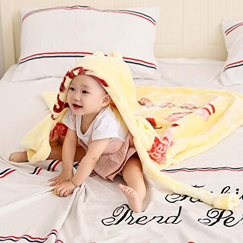 FREEDL Arrullo Bebé Recien Nacido con Capucha Manta Envolvente, Súper Suave Cobertores para Bebés con Patrón De Animales, Manta Cálido para Dormir para El Bebé para 0-24 Meses 90cm Vistoso,Amarillo