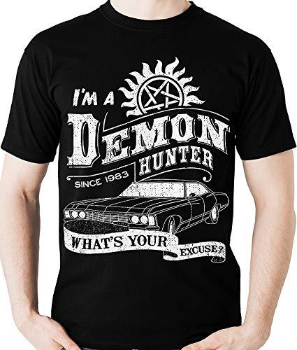 Camiseta Camiseta Demon Hunter Sobrenatural Camisa Blusa, Dragon Store, Adulto unissex, Preto, P