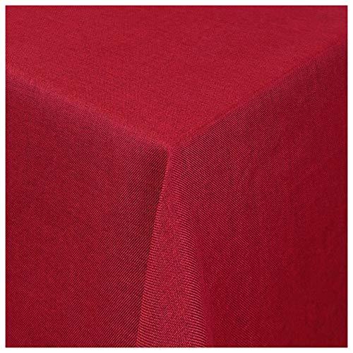 MODERNO Tischdecke Stoff Damast Leinen-Optik Jacquard mit Fleckschutz eckig 80x80 cm Rot
