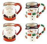 Holly Jolly Santa Claus & Snowman Ceramic Holiday Coffee Mugs - Set of 4 (Santa & Snowman)