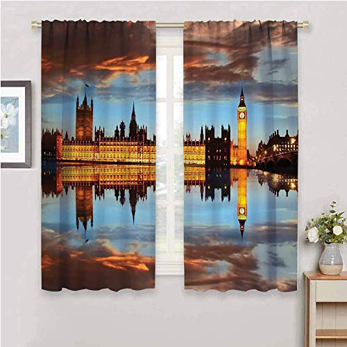 London Kids Curtain, Curtains 45 inch Length splendent Scene of Big Ben Westminster Cloudy Night Thames River Image Protective Furniture Warm Taupe Orange Yellow W63 x L45 Inch