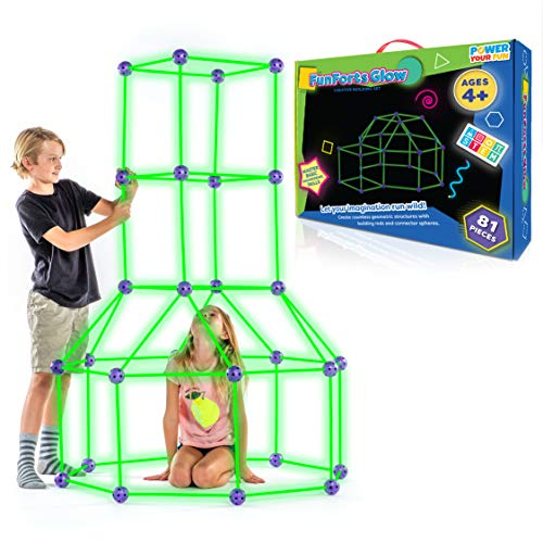 Fun Forts Glow Kids Tent for Kids - 81 Pack STEM Toys Glow in The Dark Fort Building Kit, Building...