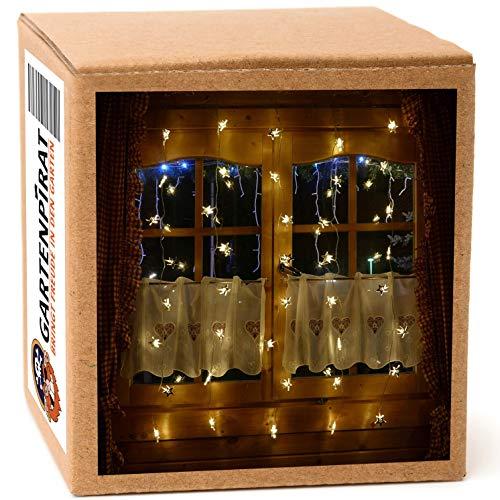Lichtervorhang 1m 40 Sterne mit LED warmweiß beleuchtet Lichterkette für Fenster Weihnachten Strom Timer außen