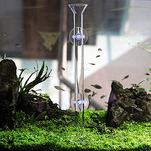 JJSJ Tubo de alimentación de acuario 25/30/35/40/45 CM Tubo de cristal para peces Tubo de alimentación para acuario Camarones con fuente de alimentación de pescado con 2 ventosas (35 cm)