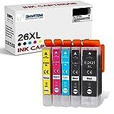 SMARTOMI 26XL 26 compatibles con Epson 26 XL Cartucho de Tinta, para Epson Printer Expression Premium XP-510 520 600 605 610 625 700 710 720 800 810 820 Series(5 Cartuchos)