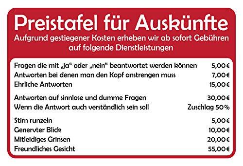 Schatzmix Spruch Preistafel für Auskünfte Metallschild 20x30 Deko tin Sign Blechschild, Blech, Mehrfarbig, 20x30 cm