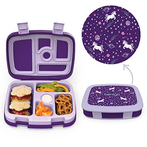 Bentgo Kids Prints Lunchbox für Kinder im Bento-Stil, auslaufsicher, 5 Fächer, ideal für Portionsgrößen für 3- bis 7-jährige Kinder, BPA-freie und lebensmittelechte Materialien Einhorn