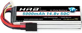 HRB 4S Lipo Battery 14.8v lipo 5000mAh 50C-100C RC Lipo Battery with Traxxas Plug for Traxxas Slash X-Maxx RC Buggy Truggy Crawler Monster Car,Helicopter,Airplane