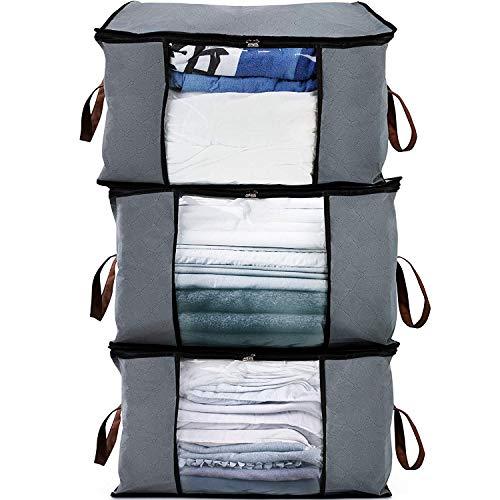Bruce. ® 3 x Premium Aufbewahrungstaschen in Grau | 84L Volumen | 60 x 40 x 35 cm Groß | Aufbewahrung für Kleidung und Bettdecken | Kleideraufbewahrung für Bettwäsche und Kissen