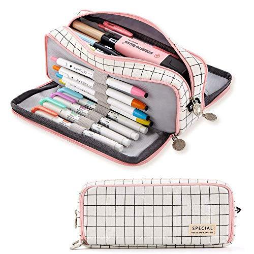 Estuche para lápices, de gran capacidad, 3 compartimentos, de lona para maquillaje,...