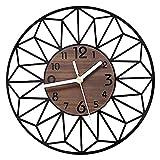 VIVILINEN 30cm Reloj de pared redondo Relojes de pared de grano de madera Vintage Reloj silencioso sin tictac que funciona con pilas para la decoración del hogar de la sala de estar (30cm de diámetro)