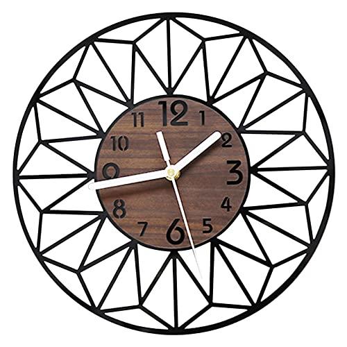 VIVILINEN 30cm Reloj de pared redondo Relojes de pared de grano de madera Vintage Reloj silencioso sin tictac que...