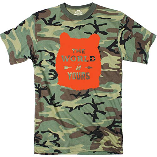 Crazy Dog T-Shirts Camo The World is Yours Tshirt Cute Outdoors Camping Camoulflage Tee (Camo - Orange Ink) - M